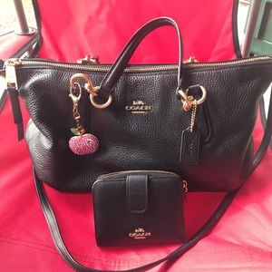 Black Leather Coach and Wallet